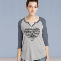 Ladies 3/4 Sleeve Tshirt - Memories in the Making Heart - Silver/Vintage Navy