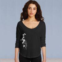 Ladies 3/4 Sleeve Tshirt - Forget-Me-Not Ivy - Black