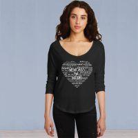 Ladies 3/4 Sleeve Vintage Tshirt - Memories in the Making Heart - Black