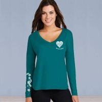 V-Neck Long Sleeve Tshirt - ASF Heart Love with Ivy - Turquoise