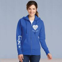 Ladies Full Zip Hooded Sweater - Memories in the Making Heart with Ivy - Royal Blue