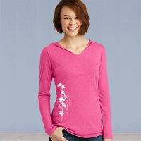 Hooded Sweater Tshirt - Forget-Me-Not Ivy with Alaska State Fair - Pink