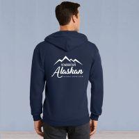 Mens Full Zip Hooded Sweater - Homegrown Alaskan - Navy
