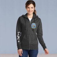 Ladies Full Zip Hooded Sweater - Memories in the Making Logo with Ivy - Dark Grey