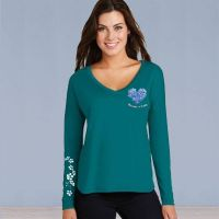 V-Neck Long Sleeve Tshirt- ASF Heart Love with Ivy Full Color - Turquoise