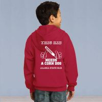 Youth Full Zip Hooded Sweater - This Kid Needs a Corn Dog - Red
