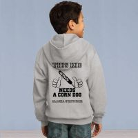 Youth Full Zip Hooded Sweater - This Kid Needs a Corn Dog - Grey