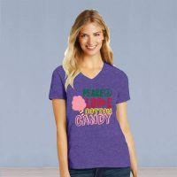 V-Neck Short Sleeve Tshirt - Peace Love Cotton Candy - Heathered Purple