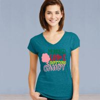 V-Neck Short Sleeve Tshirt - Peace Love Cotton Candy - Galapagos Blue