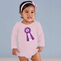 Long Sleeve Baby Onesie - Grand Champion ASF Ribbon - Pale Pink