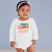 Long Sleeve Baby Onesie - Peace, Love and Cotton Candy - White