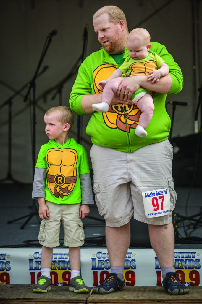 Grand prize winners at the Parent-Child Look Alike Contest at the Alaska State Fair, Palmer, Alaska