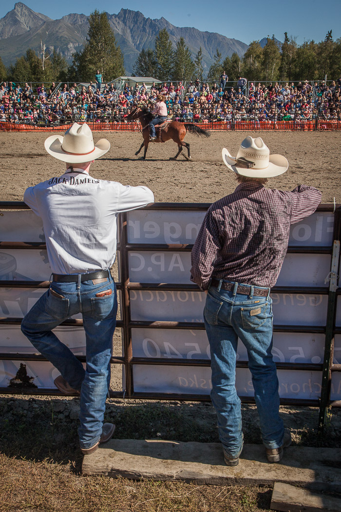 Asf Rodeo Back Of 2 Cowboys Watching The Action Alaska